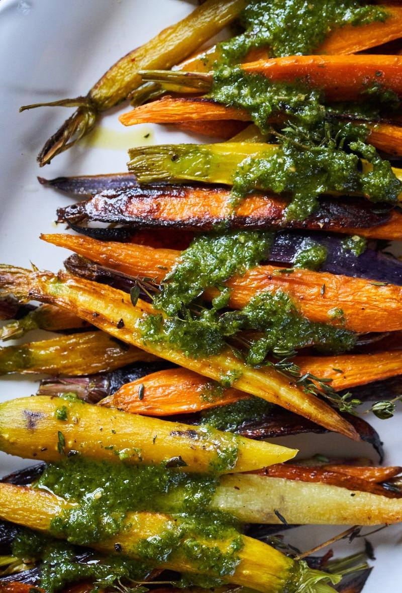 roasted-rainbow-carrots-pesto
