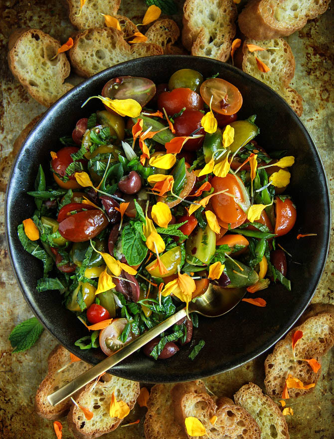 Tomato Olive and Mint Bruschetta (Vegan and Gluten Free) from He
